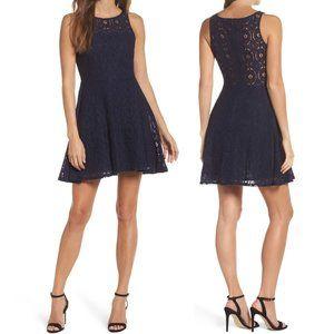 BB Dakota NEW Renley Lace Navy Fit & Flare Dress